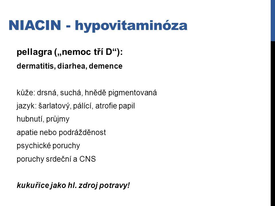 Niacin - hypovitaminóza