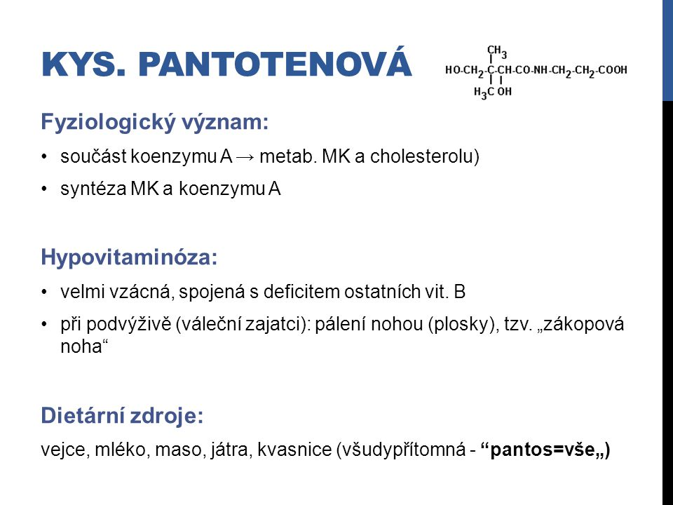 Kys. Pantotenová Fyziologický význam: Hypovitaminóza: Dietární zdroje: