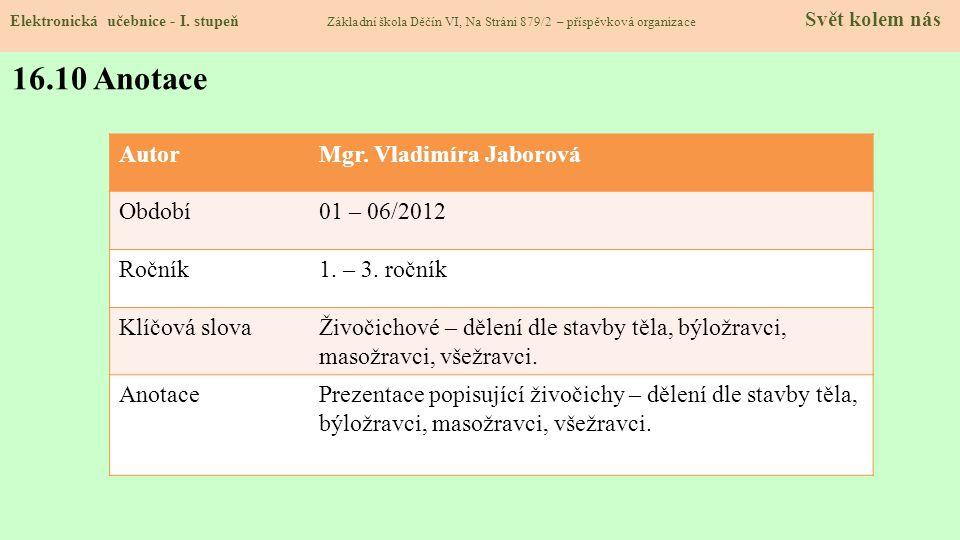 16.10 Anotace Autor Mgr. Vladimíra Jaborová Období 01 – 06/2012 Ročník