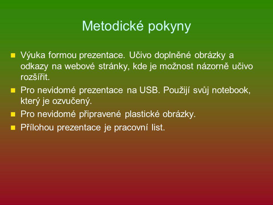 Metodické pokyny Výuka formou prezentace. Učivo doplněné obrázky a odkazy na webové stránky, kde je možnost názorně učivo rozšířit.
