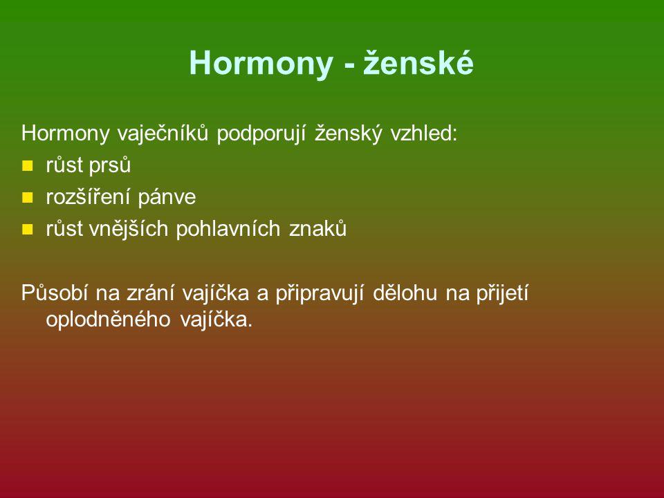 Hormony - ženské Hormony vaječníků podporují ženský vzhled: růst prsů