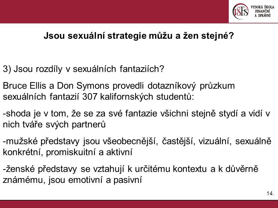 Jsou sexuální strategie můžu a žen stejné