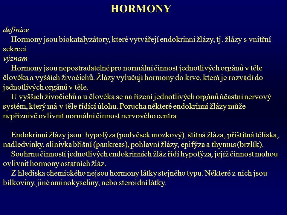 HORMONY definice. Hormony jsou biokatalyzátory, které vytvářejí endokrinní žlázy, tj. žlázy s vnitřní sekrecí.