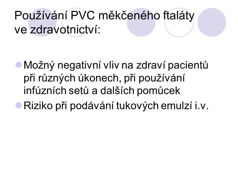 Používání PVC měkčeného ftaláty ve zdravotnictví: