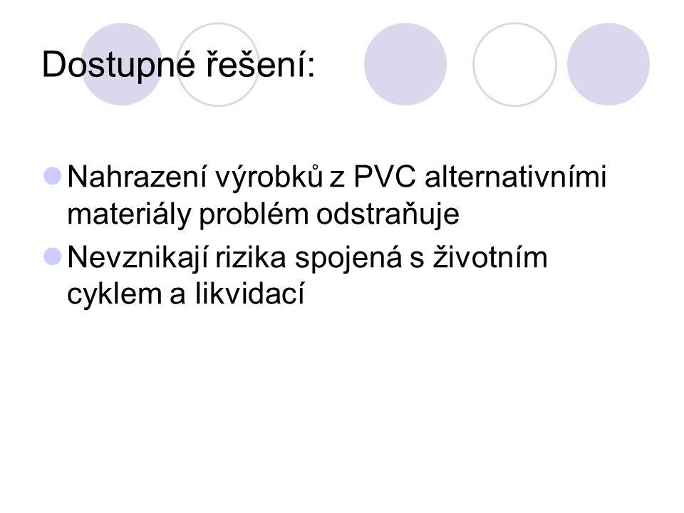 Dostupné řešení: Nahrazení výrobků z PVC alternativními materiály problém odstraňuje.