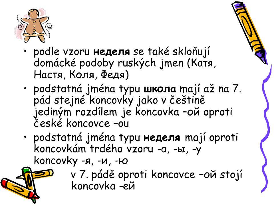 podle vzoru неделя se také skloňují domácké podoby ruských jmen (Катя, Настя, Коля, Федя)