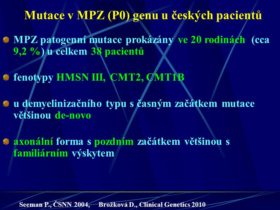 Mutace v MPZ (P0) genu u českých pacientů