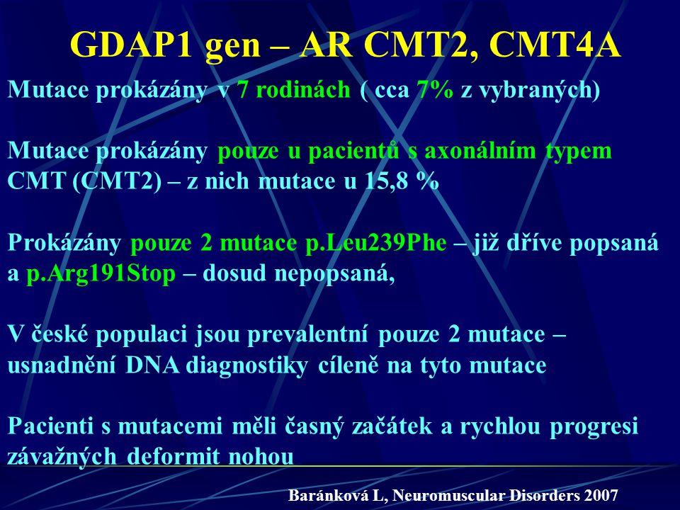 GDAP1 gen – AR CMT2, CMT4A Mutace prokázány v 7 rodinách ( cca 7% z vybraných)