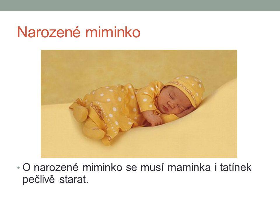 Narozené miminko O narozené miminko se musí maminka i tatínek pečlivě starat.