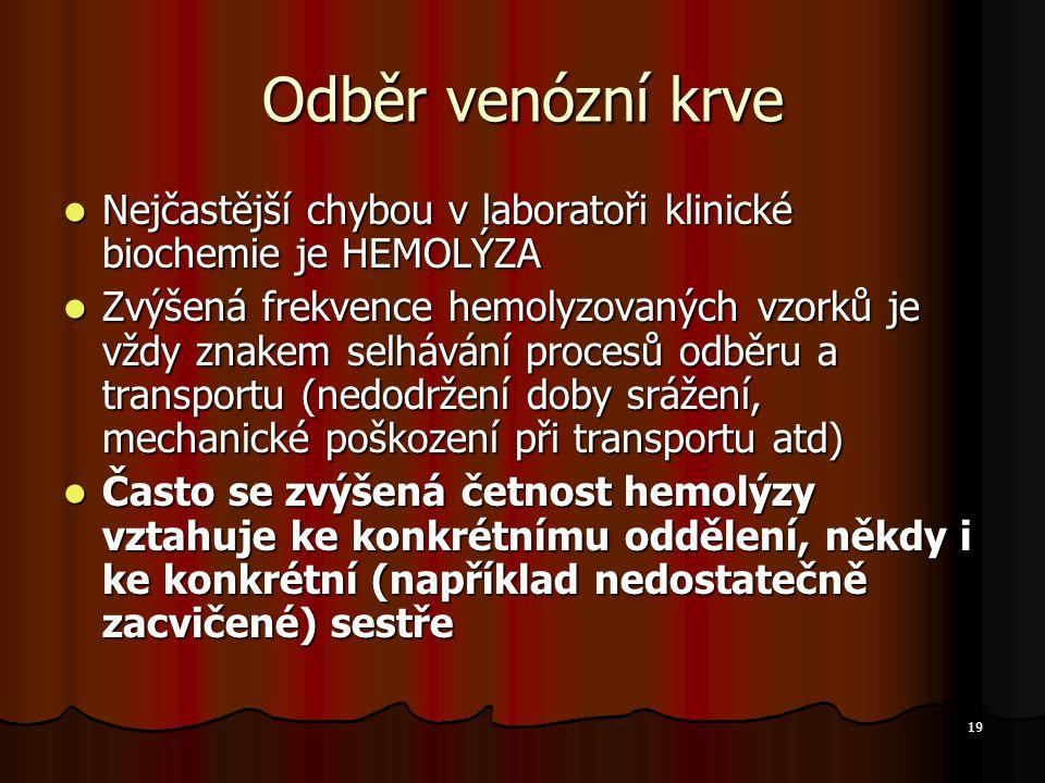 Odběr venózní krve Nejčastější chybou v laboratoři klinické biochemie je HEMOLÝZA.