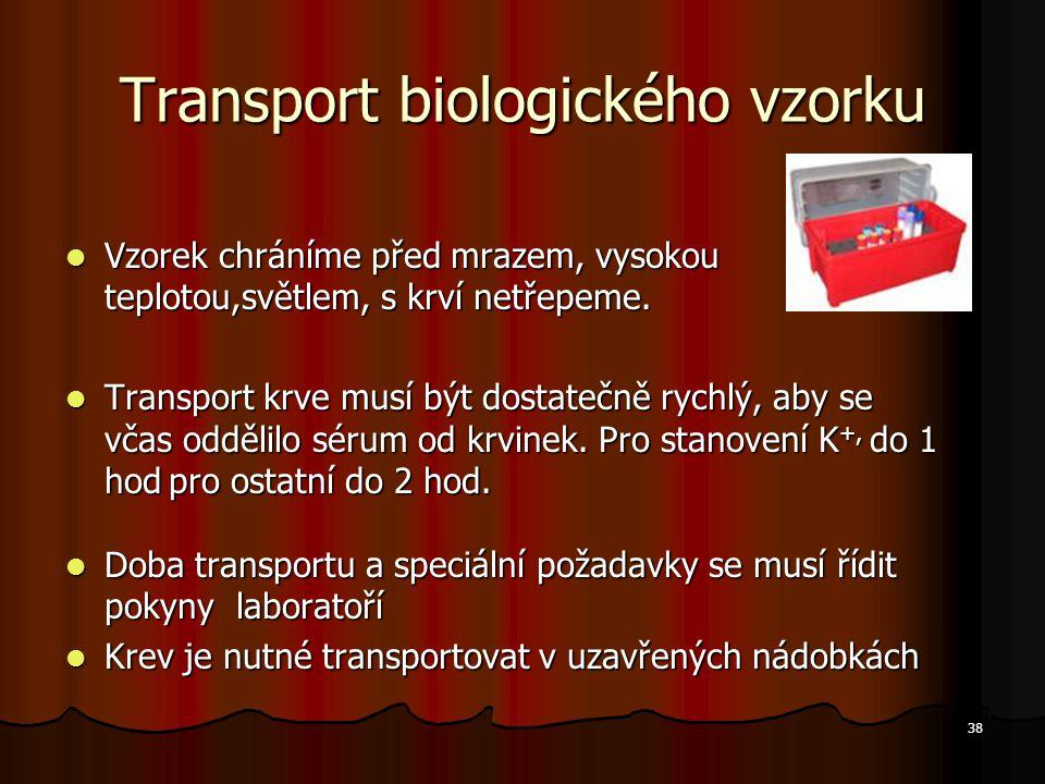 Transport biologického vzorku