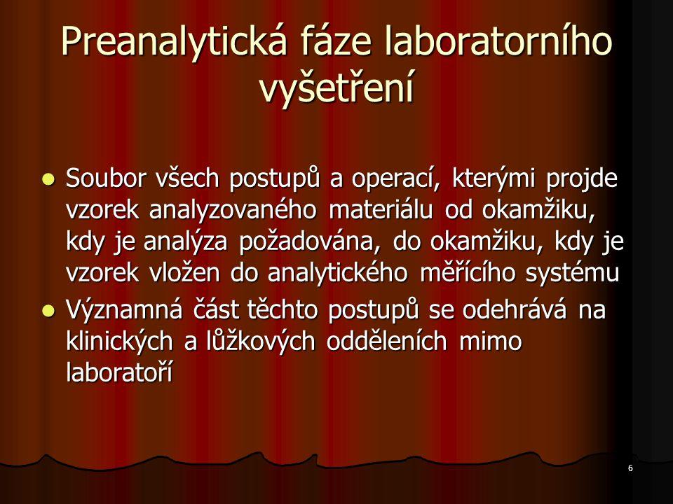 Preanalytická fáze laboratorního vyšetření