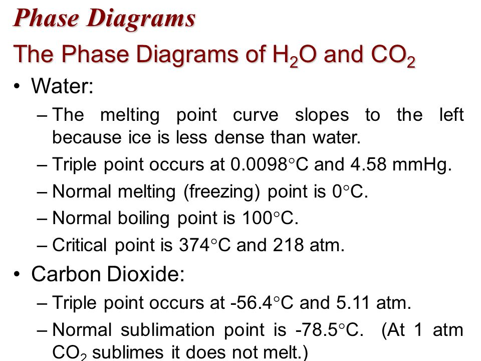 Phase Diagrams The Phase Diagrams of H2O and CO2 Water: