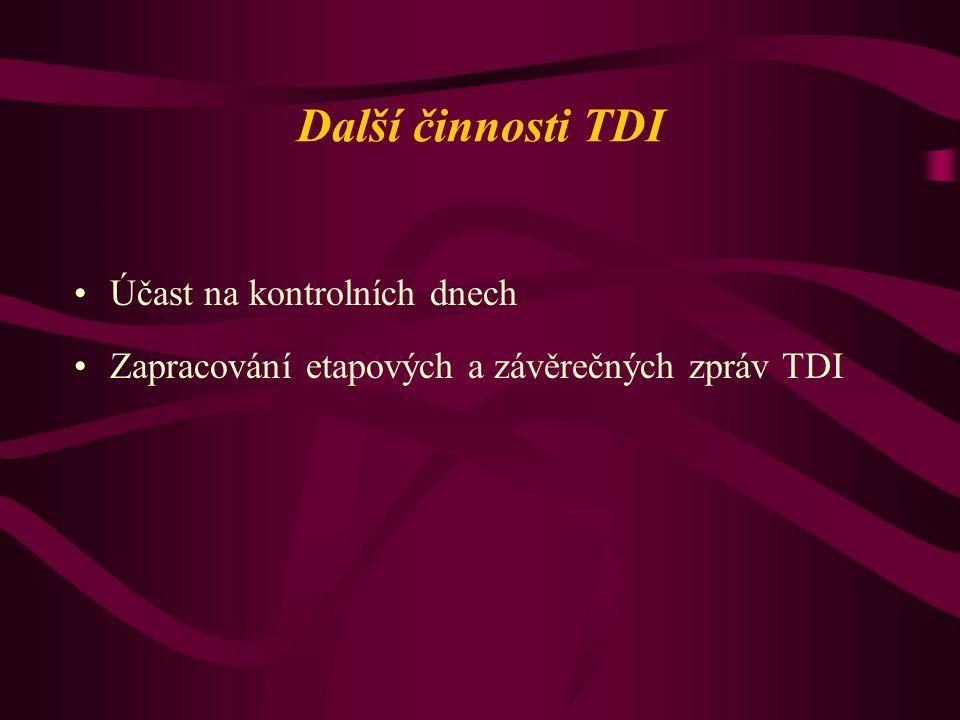 Další činnosti TDI Účast na kontrolních dnech