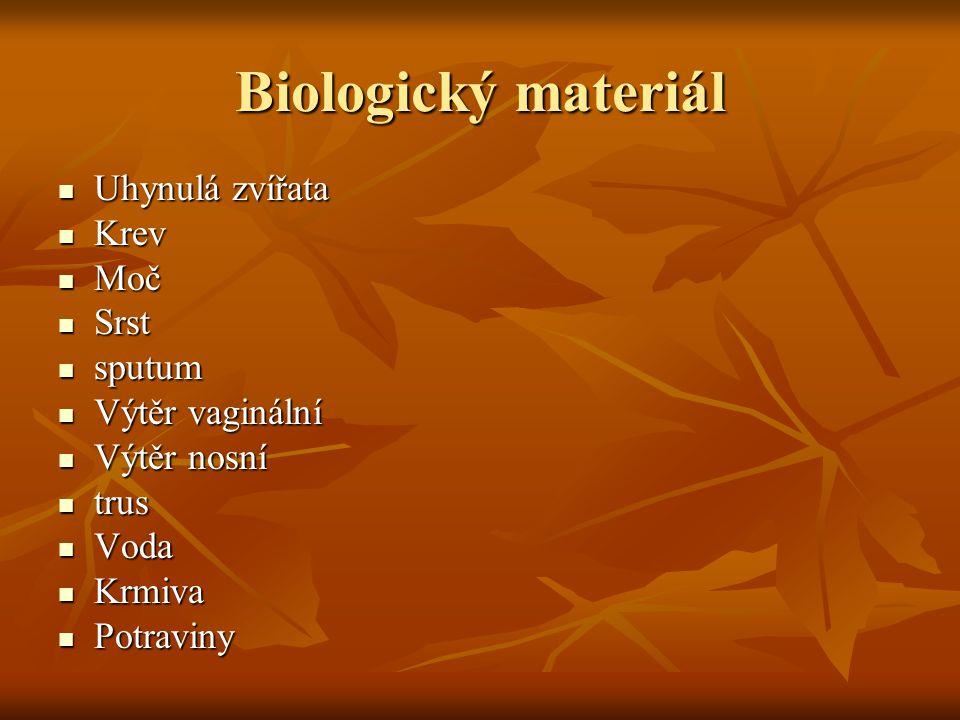 Biologický materiál Uhynulá zvířata Krev Moč Srst sputum