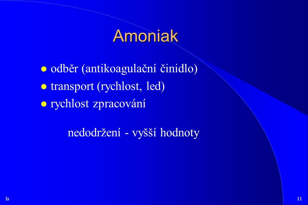 Amoniak odběr (antikoagulační činidlo) transport (rychlost, led)