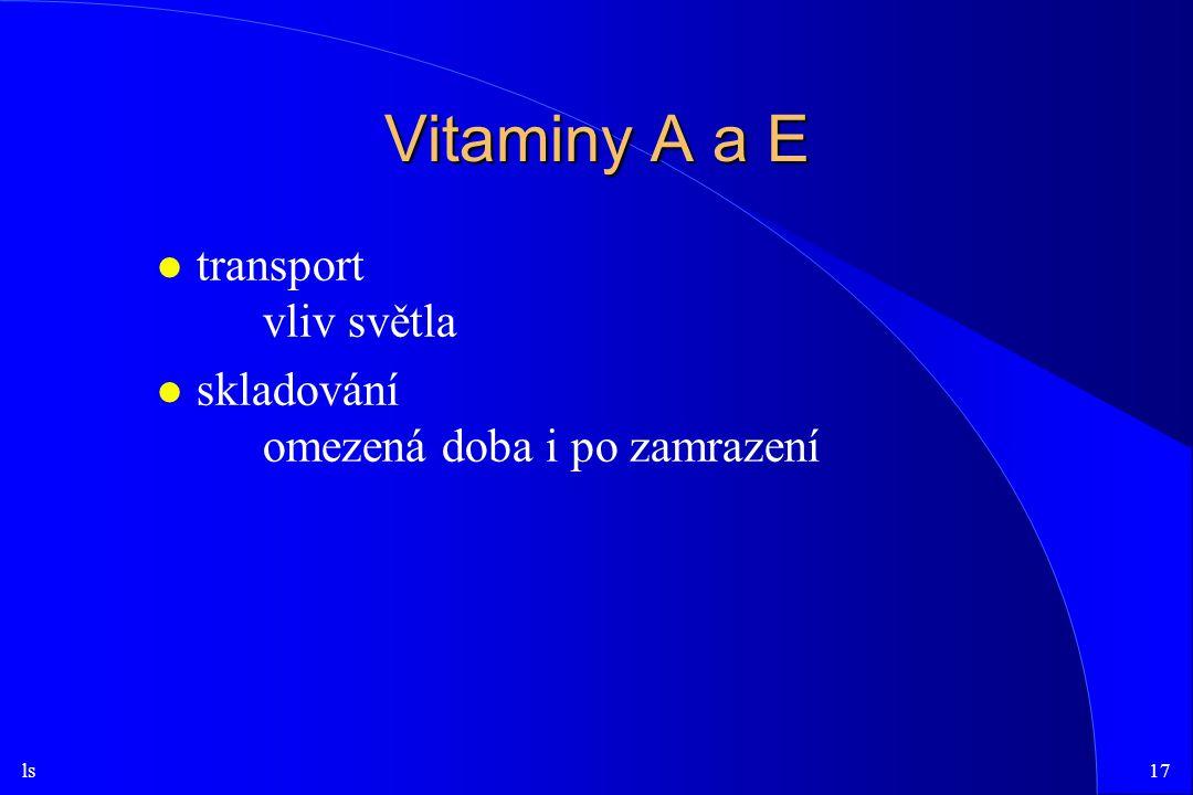 Vitaminy A a E transport vliv světla