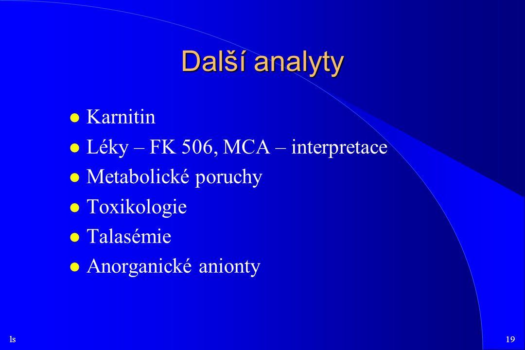 Další analyty Karnitin Léky – FK 506, MCA – interpretace