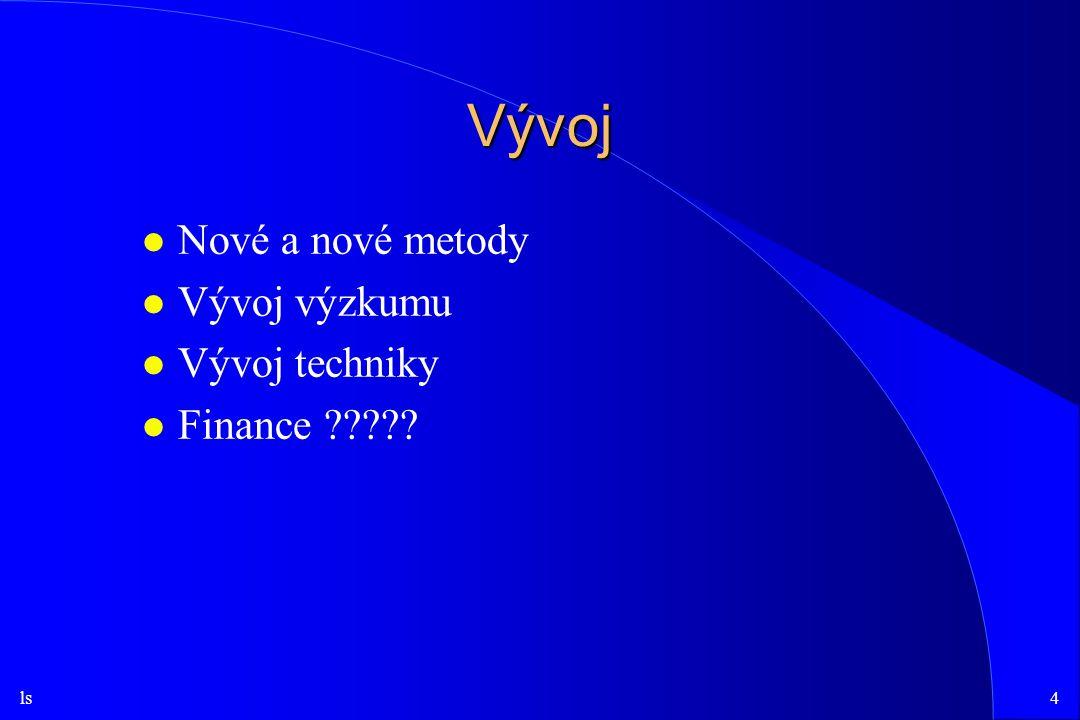 Vývoj Nové a nové metody Vývoj výzkumu Vývoj techniky Finance
