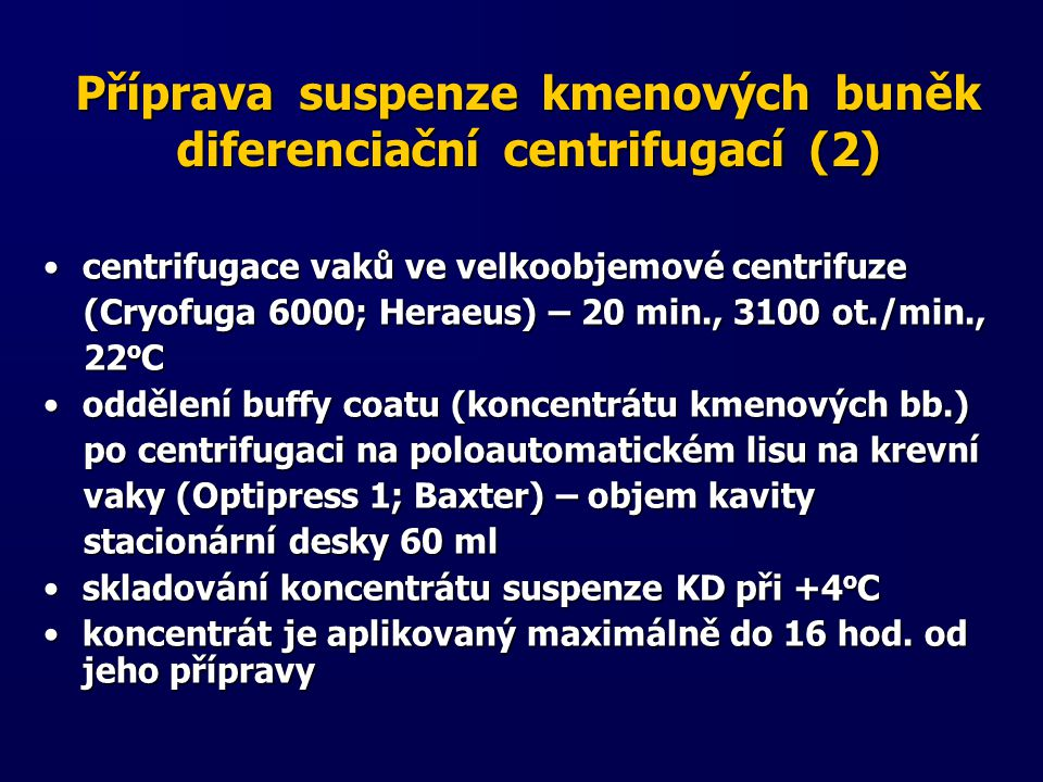 Příprava suspenze kmenových buněk diferenciační centrifugací (2)