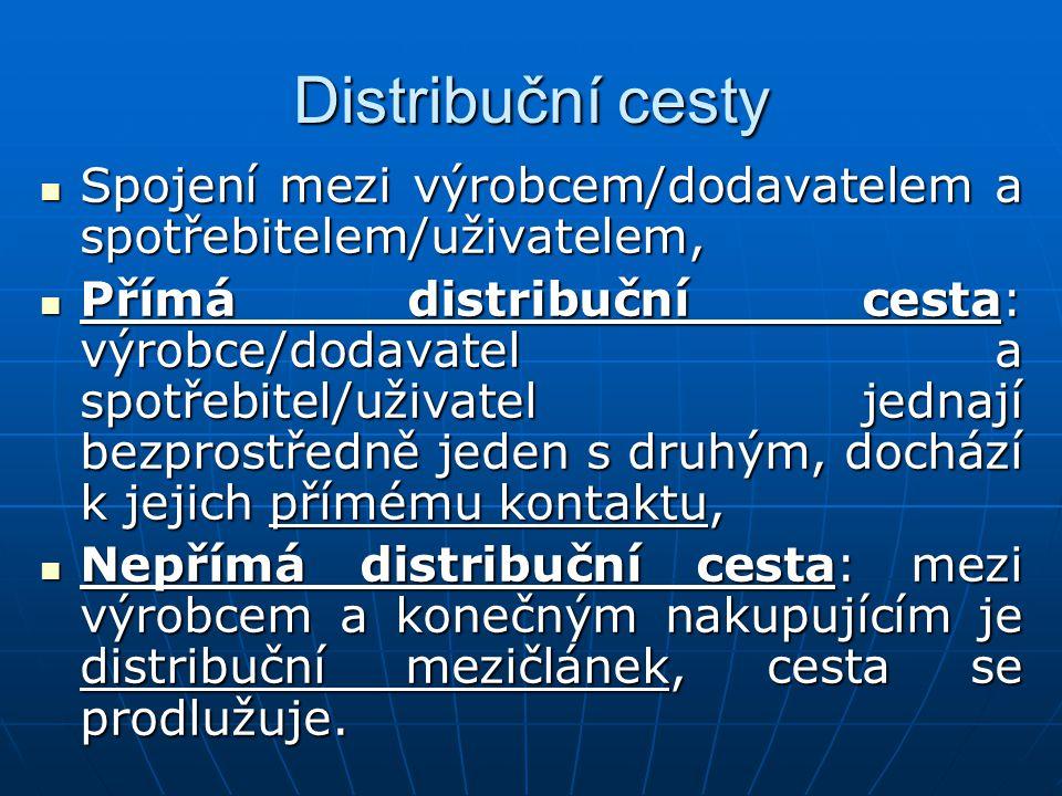 Distribuční cesty Spojení mezi výrobcem/dodavatelem a spotřebitelem/uživatelem,