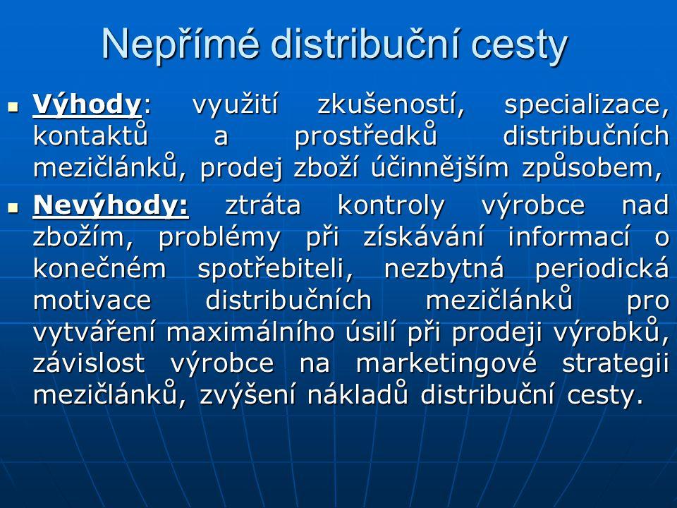 Nepřímé distribuční cesty