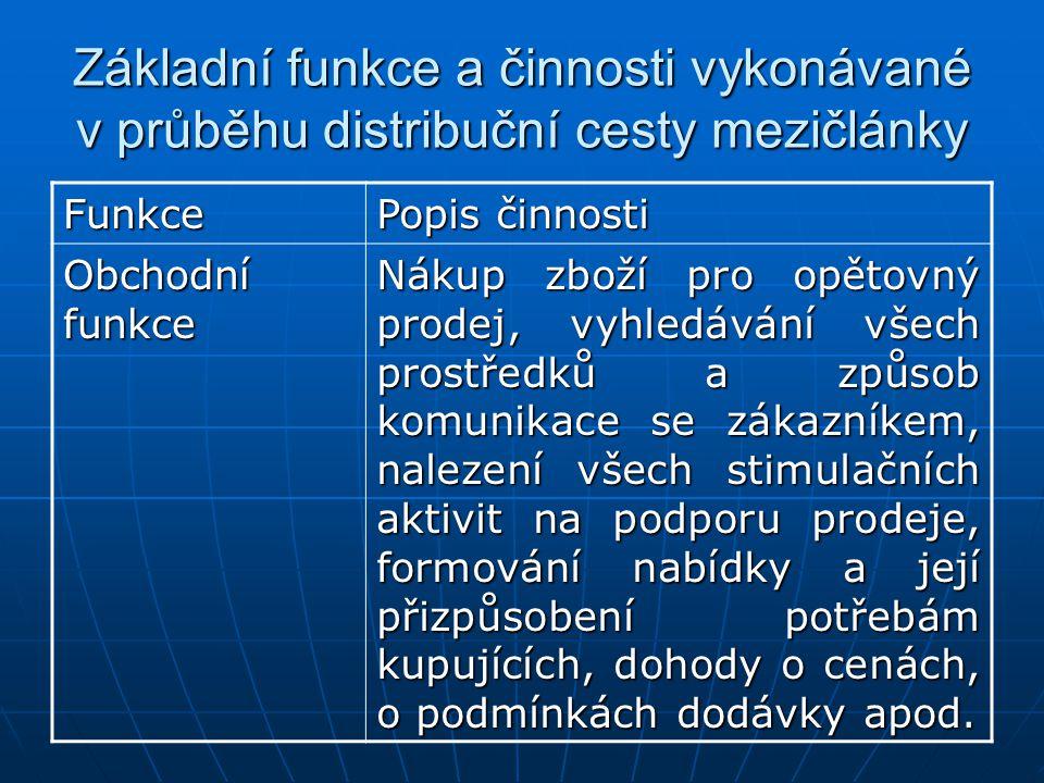 Základní funkce a činnosti vykonávané v průběhu distribuční cesty mezičlánky