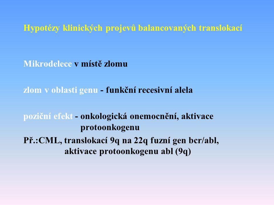 Hypotézy klinických projevů balancovaných translokací