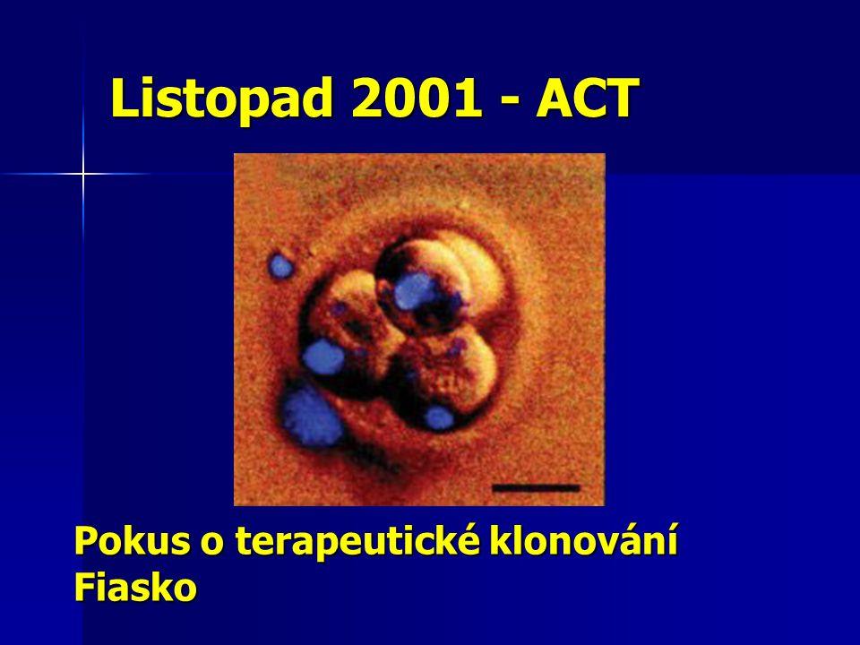 Listopad 2001 - ACT Pokus o terapeutické klonování Fiasko