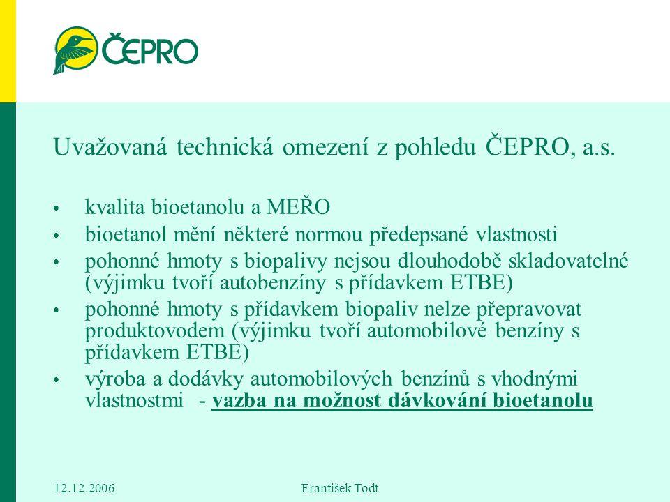 Uvažovaná technická omezení z pohledu ČEPRO, a.s.