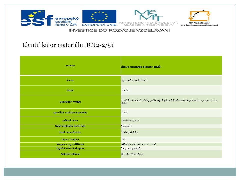 Identifikátor materiálu: ICT2-2/51