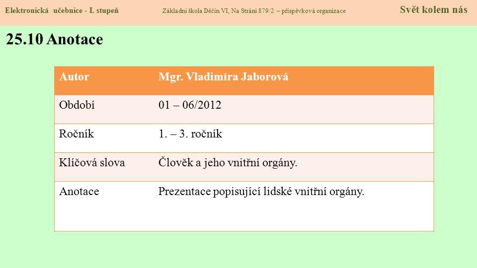 25.10 Anotace Autor Mgr. Vladimíra Jaborová Období 01 – 06/2012 Ročník