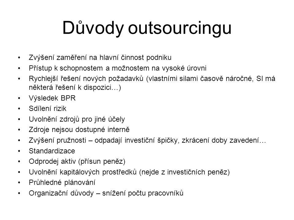 Důvody outsourcingu Zvýšení zaměření na hlavní činnost podniku