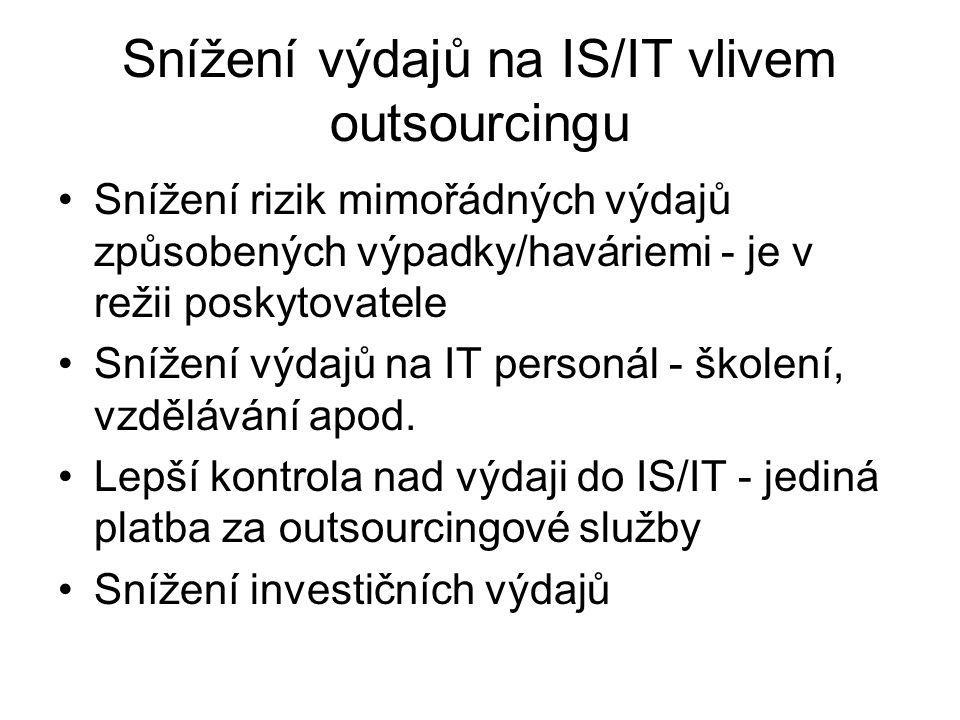 Snížení výdajů na IS/IT vlivem outsourcingu