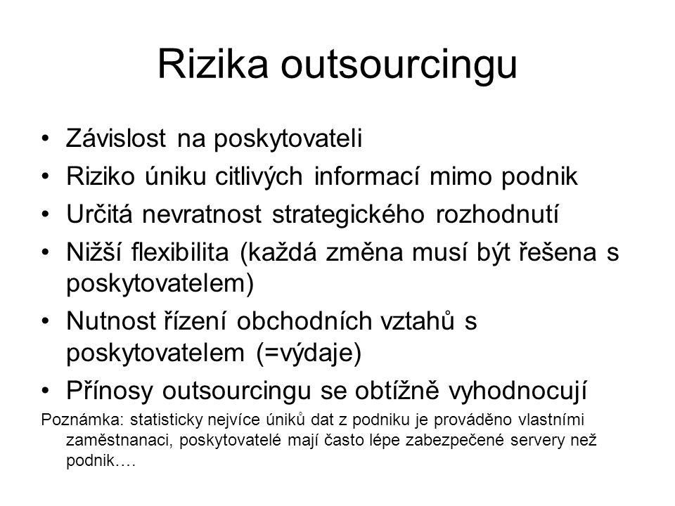 Rizika outsourcingu Závislost na poskytovateli