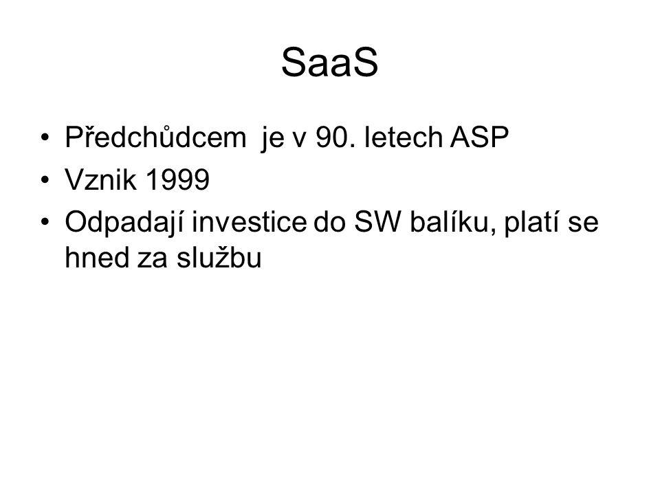 SaaS Předchůdcem je v 90. letech ASP Vznik 1999