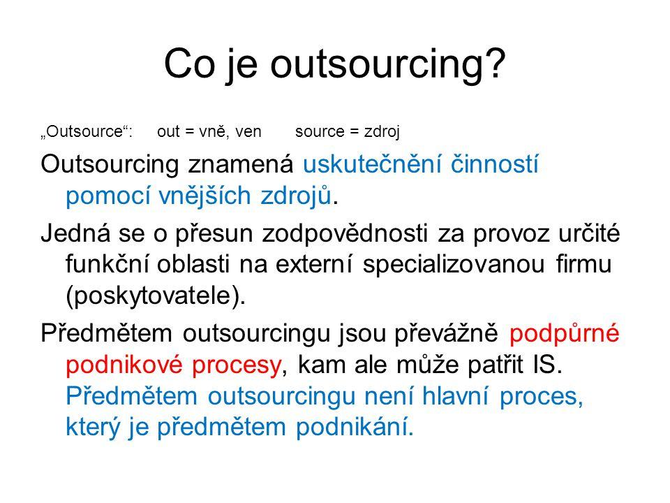 """Co je outsourcing """"Outsource : out = vně, ven source = zdroj. Outsourcing znamená uskutečnění činností pomocí vnějších zdrojů."""