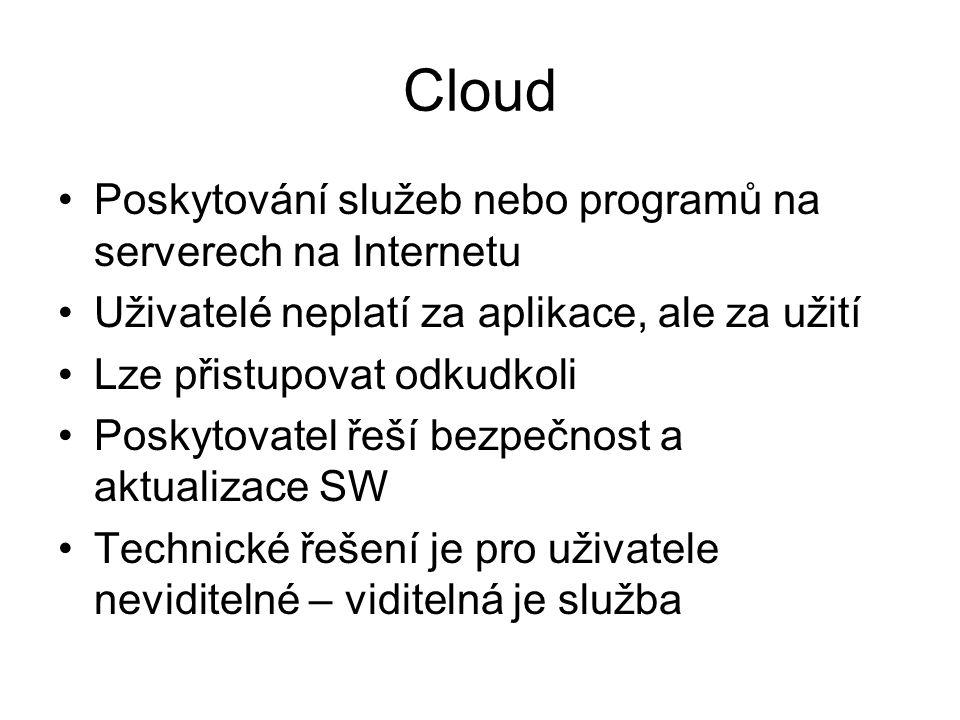 Cloud Poskytování služeb nebo programů na serverech na Internetu
