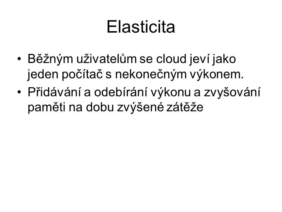Elasticita Běžným uživatelům se cloud jeví jako jeden počítač s nekonečným výkonem.