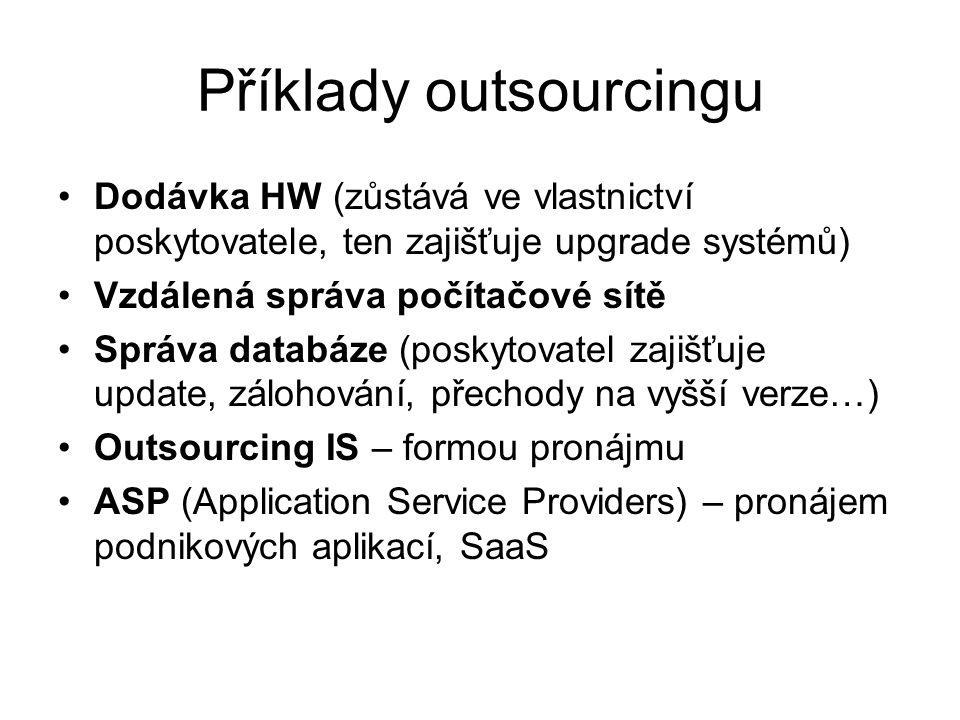 Příklady outsourcingu
