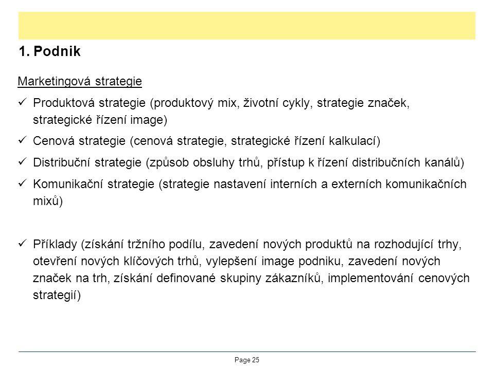 1. Podnik Marketingová strategie