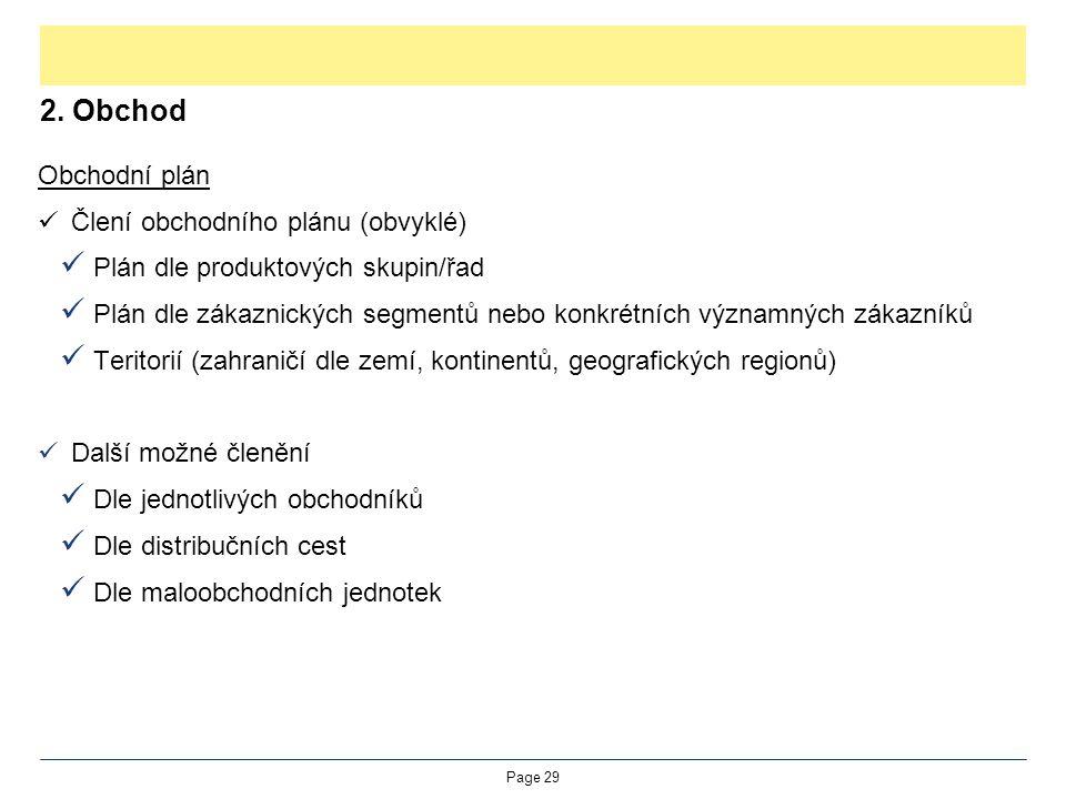 2. Obchod Obchodní plán Člení obchodního plánu (obvyklé)
