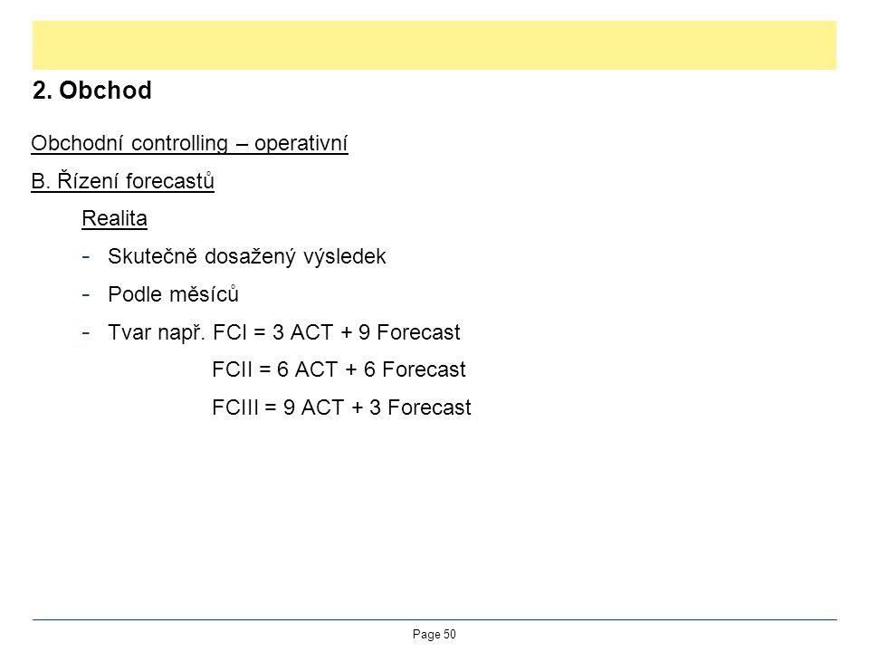 2. Obchod Obchodní controlling – operativní B. Řízení forecastů