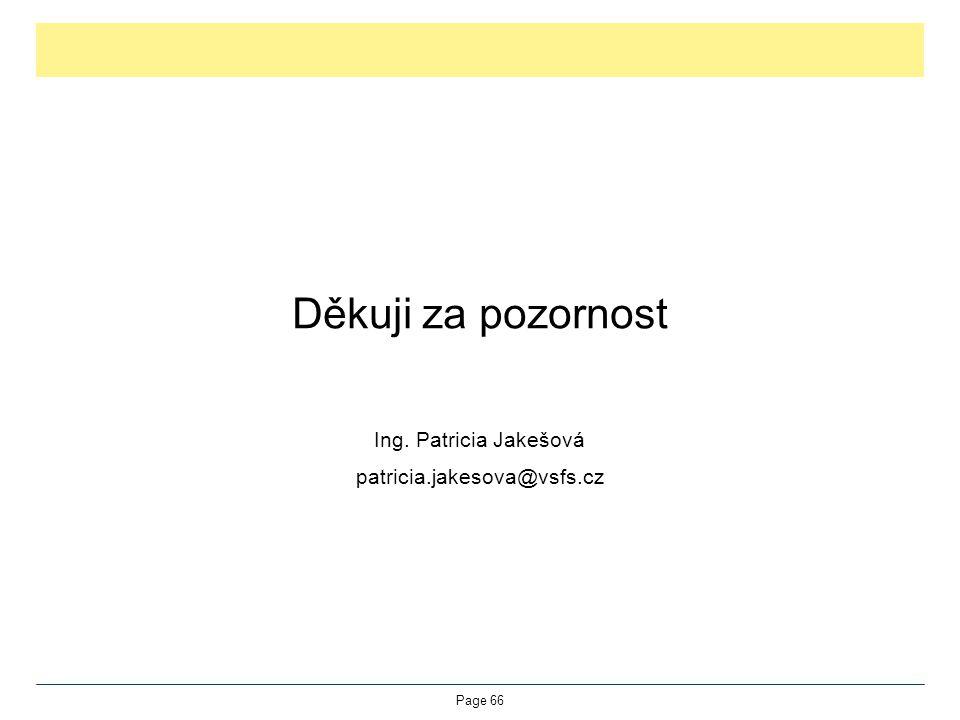 Děkuji za pozornost Ing. Patricia Jakešová patricia.jakesova@vsfs.cz