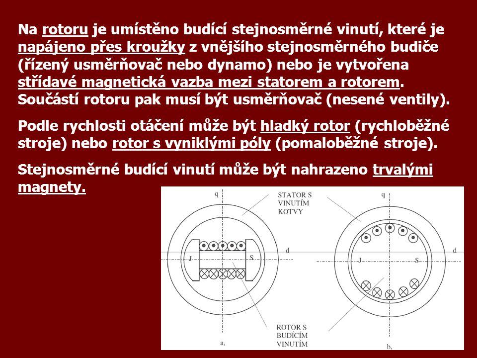 Na rotoru je umístěno budící stejnosměrné vinutí, které je napájeno přes kroužky z vnějšího stejnosměrného budiče (řízený usměrňovač nebo dynamo) nebo je vytvořena střídavé magnetická vazba mezi statorem a rotorem. Součástí rotoru pak musí být usměrňovač (nesené ventily).