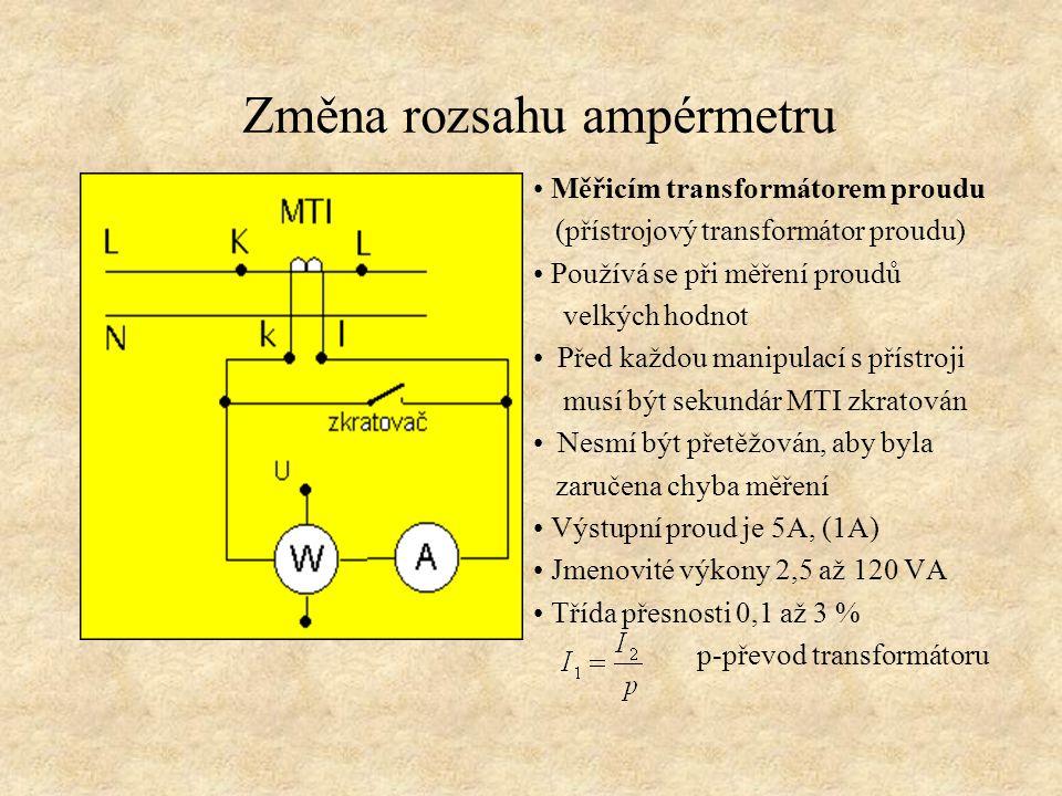 Změna rozsahu ampérmetru
