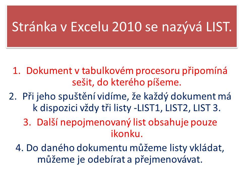 Stránka v Excelu 2010 se nazývá LIST.