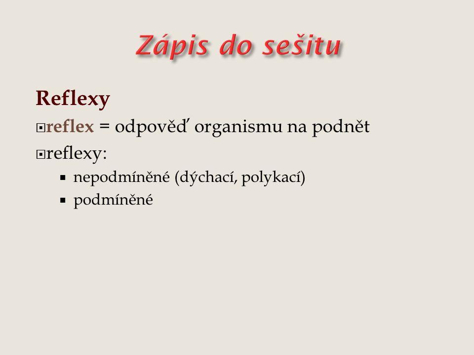 Zápis do sešitu Reflexy reflex = odpověď organismu na podnět reflexy: