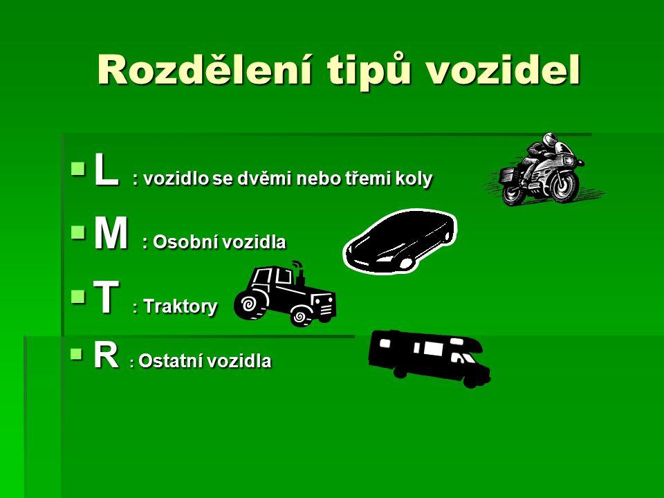 Rozdělení tipů vozidel