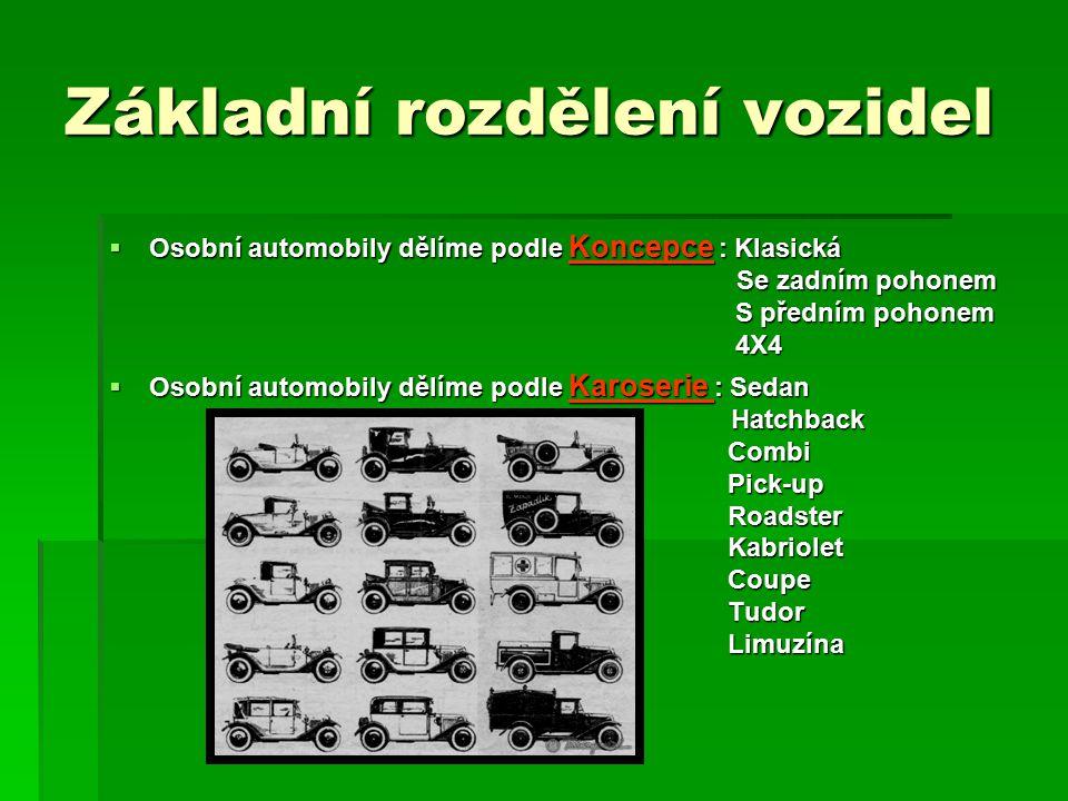 Základní rozdělení vozidel